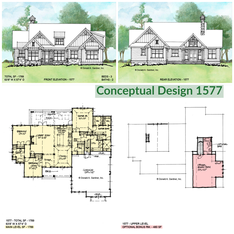 Overview of conceptual house plan 1577.