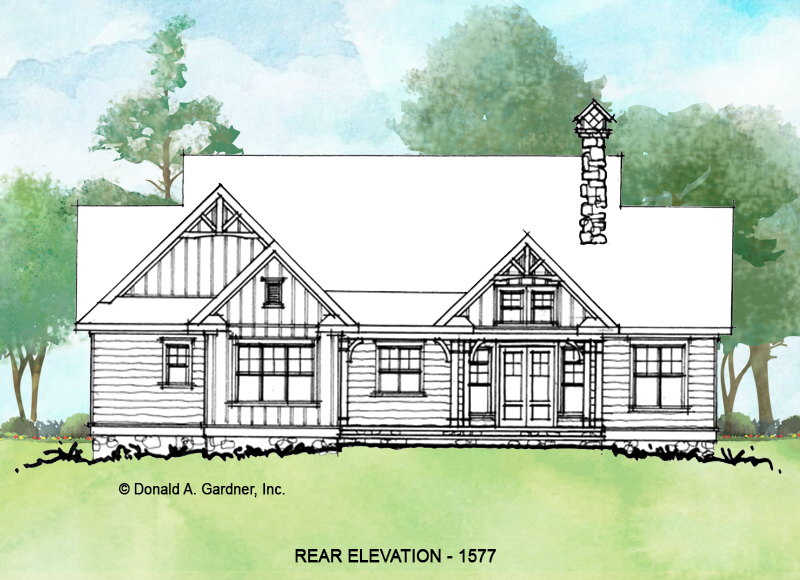 Rear elevation of conceptual house plan 1577.