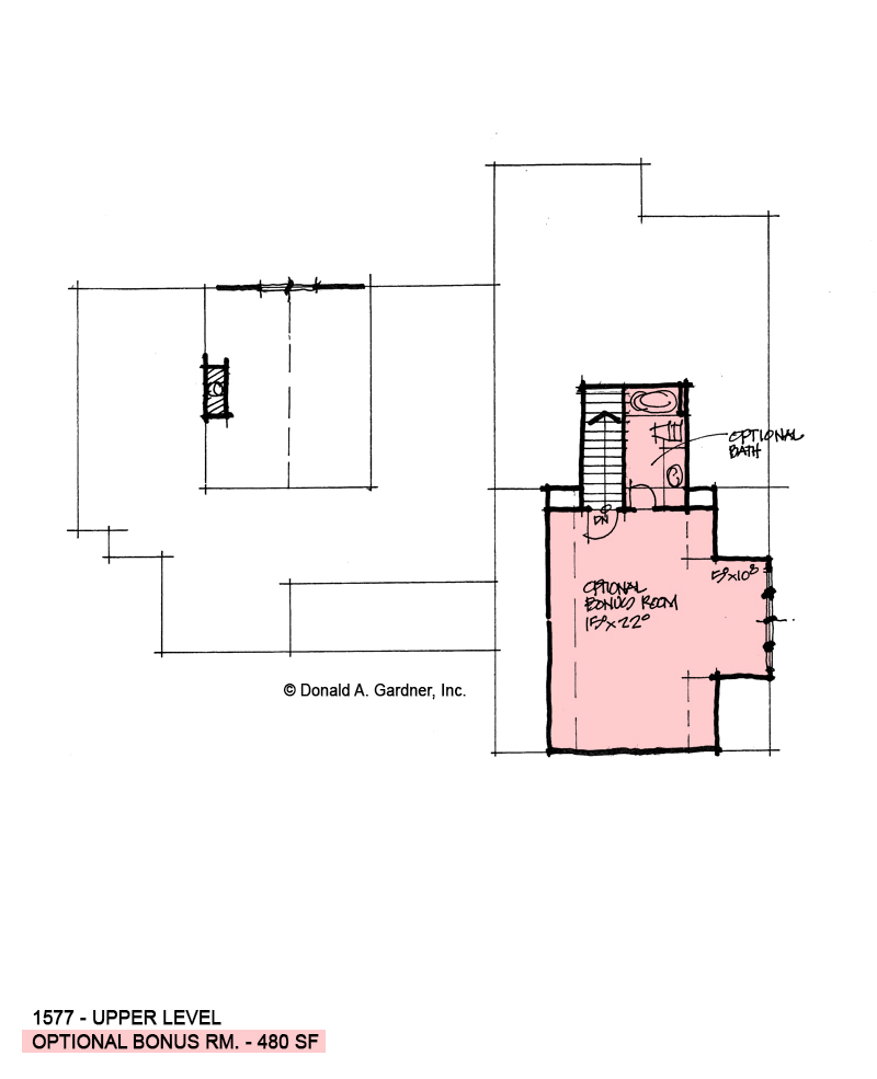 Bonus room of conceptual house plan 1577.