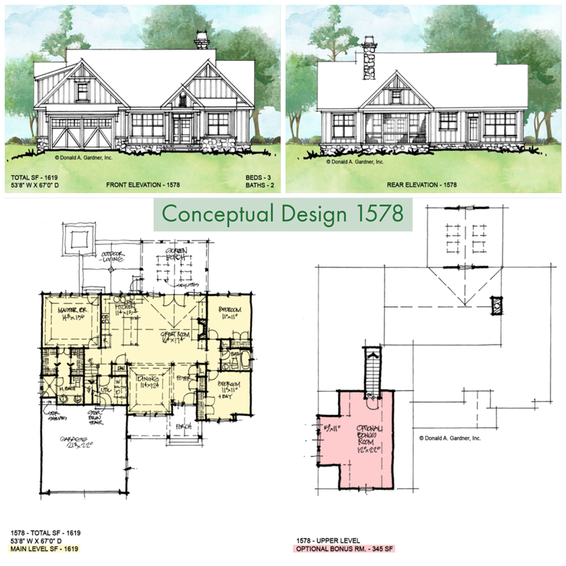 Overview of Conceptual house plan 1578.