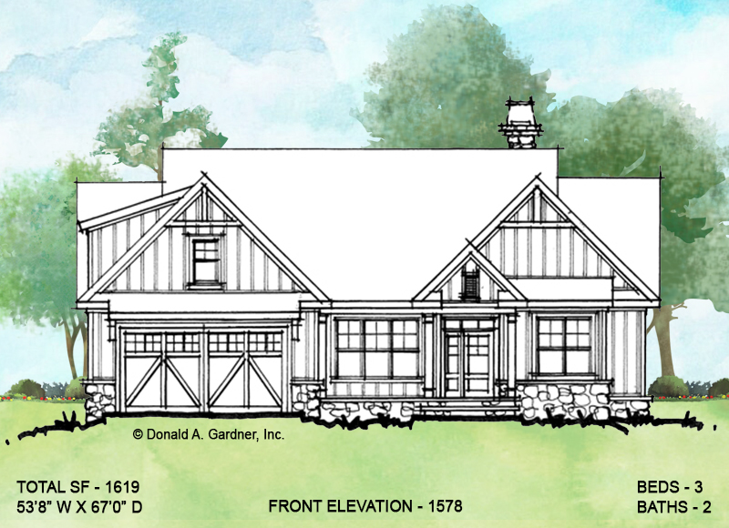 Front exterior of conceptual house plan 1578.