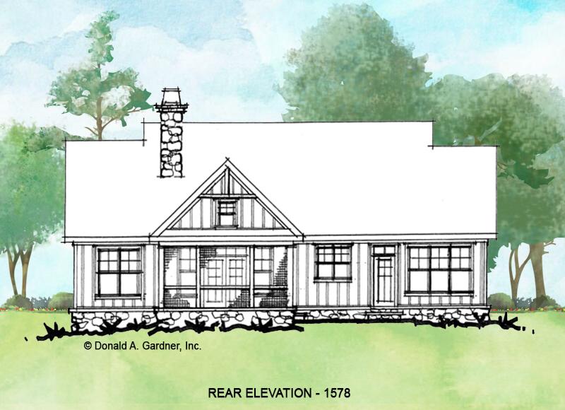 Rear exterior of conceptual house plan 1578.