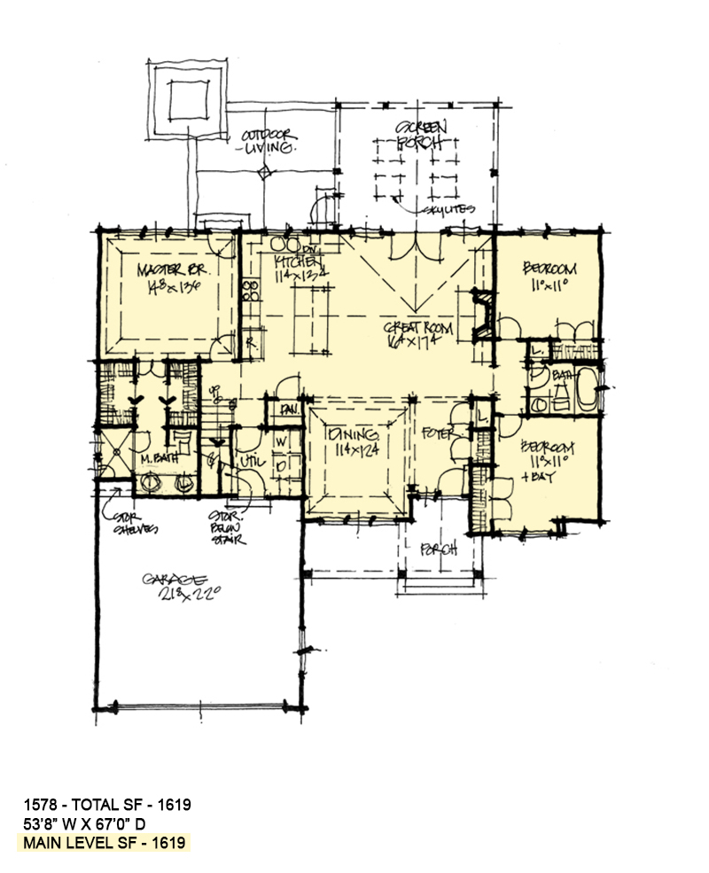 First floor plan of conceptual house plan 1578.