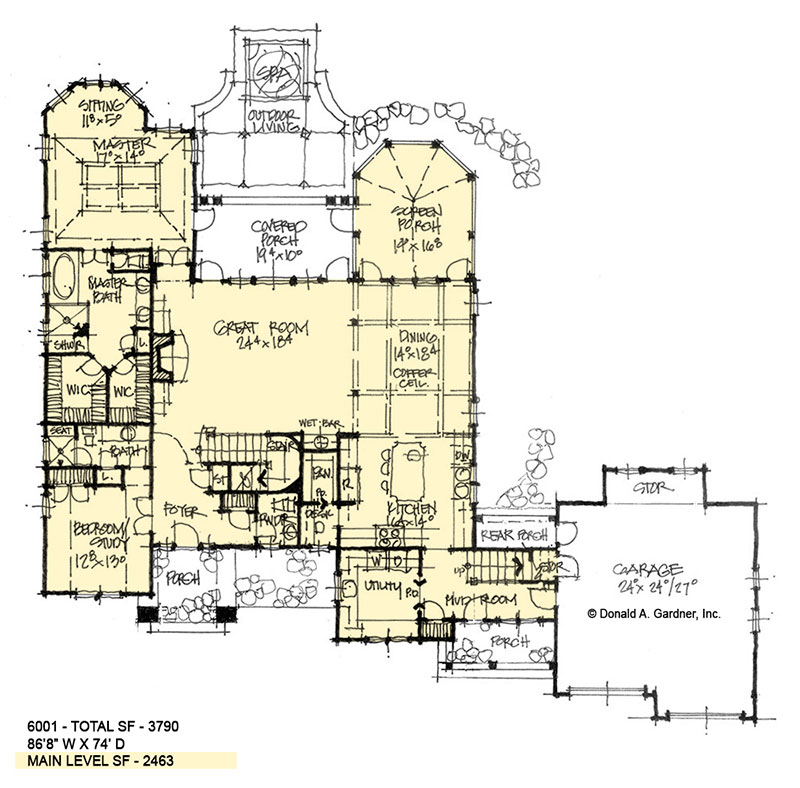 First floor of conceptual house plan 6001.