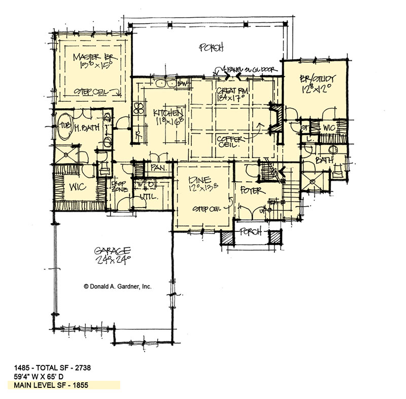 First floor of conceptual house plan 1485.