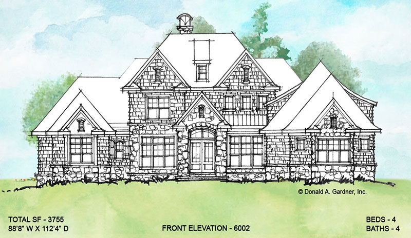 Front elevation of conceptual house plan 6002.