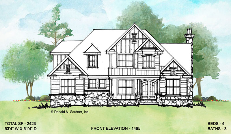 Front elevation of conceptual house plan 1495.