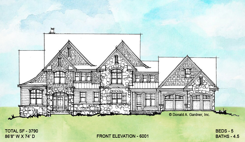 Front elevation of conceptual house plan 6001.