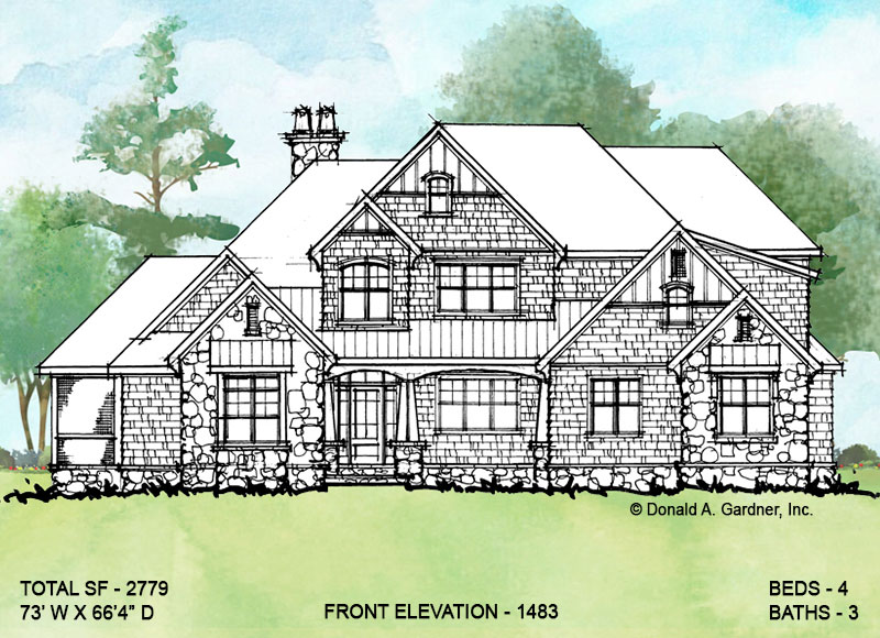 Front elevation of conceptual house plan 1483.