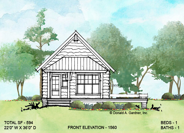 Front elevation of conceptual house plan 1560