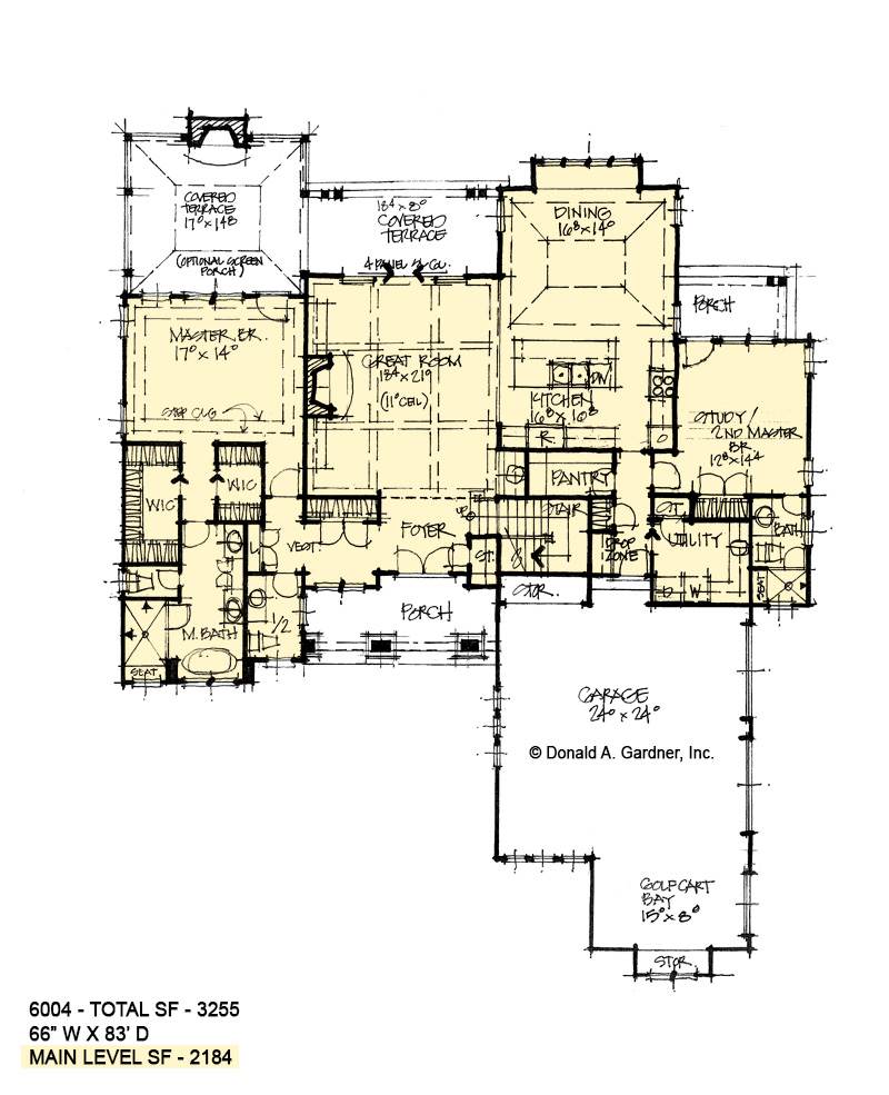 First floor of conceptual house plan 6004.