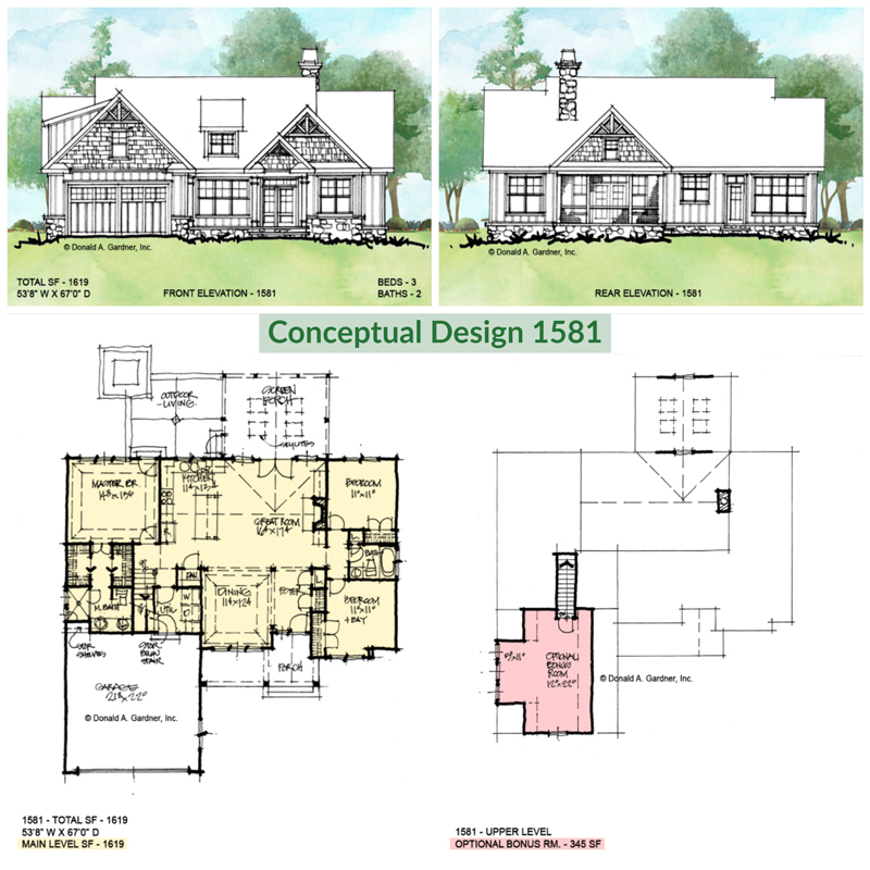 Overview of conceptual house plan 1581.