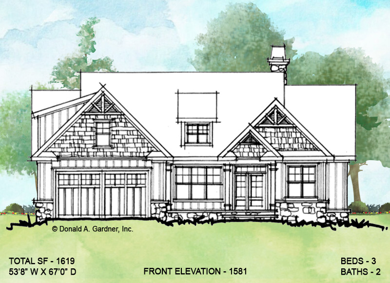 Front elevation of conceptual house plan 1581.
