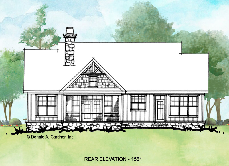 Rear elevation of conceptual house plan 1581.