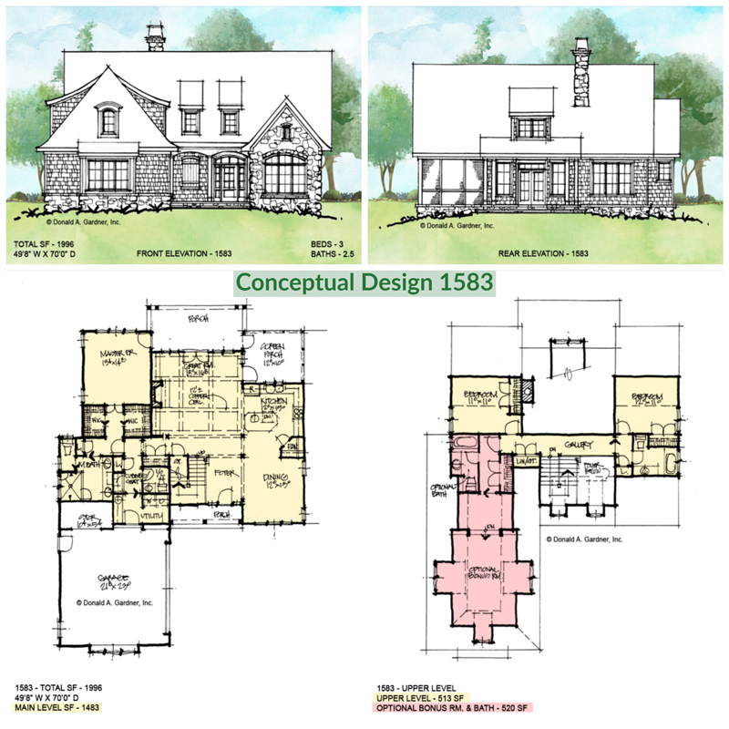 Overview of conceptual house plan 1583.