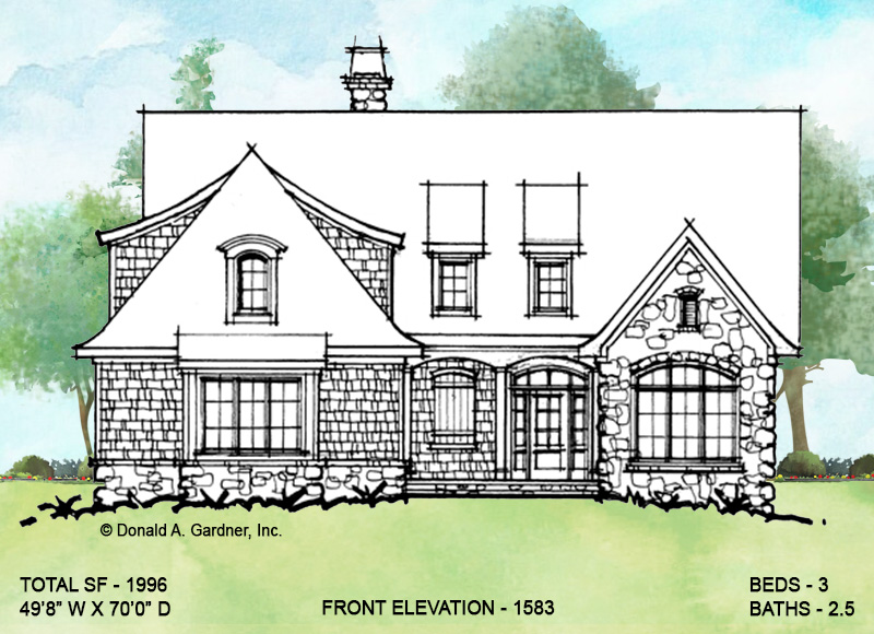Front elevation of conceptual house plan 1583.