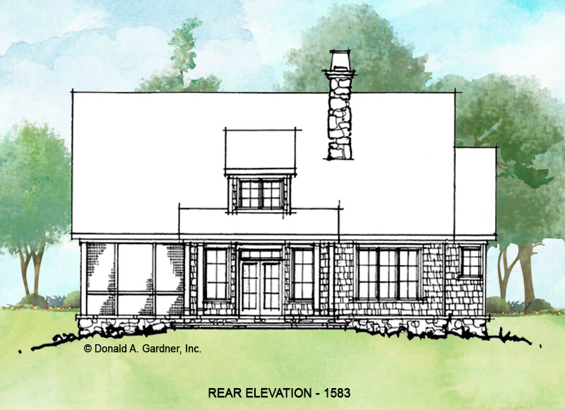 Rear elevation of conceptual house plan 1583.