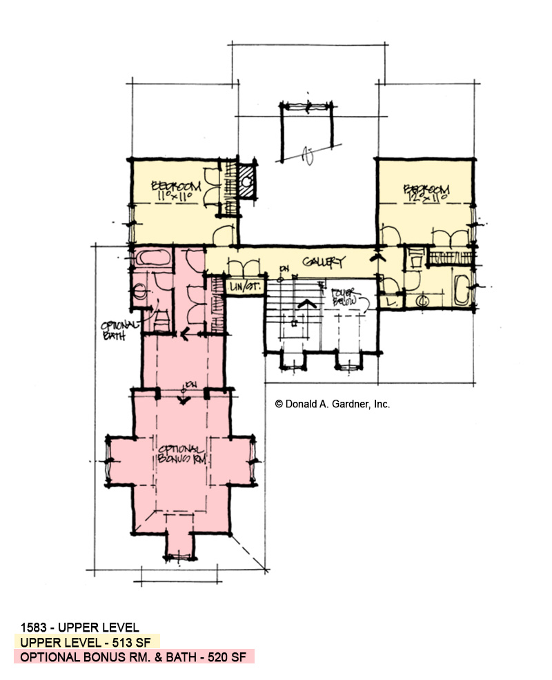 Second floor of conceptual house plan 1583.