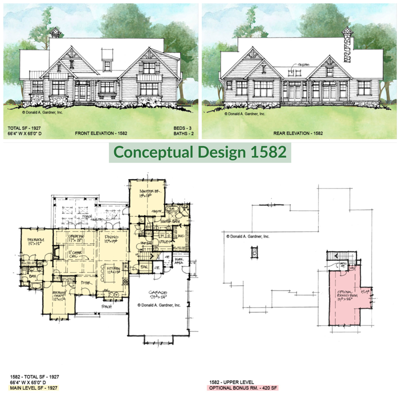 Overview of Conceptual house plan 1582.