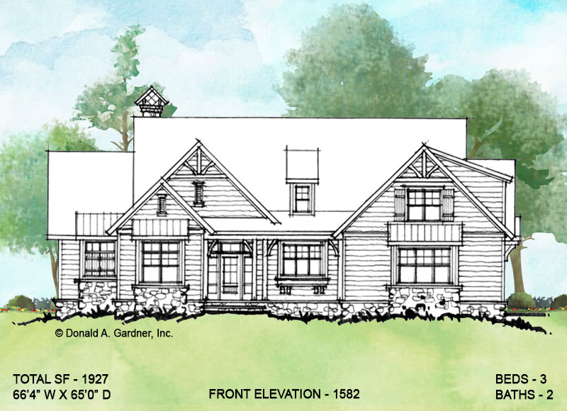 Front elevation of conceptual house plan 1582.