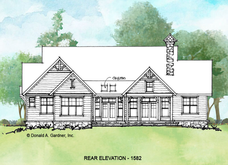 Rear elevation of conceptual house plan 1582.