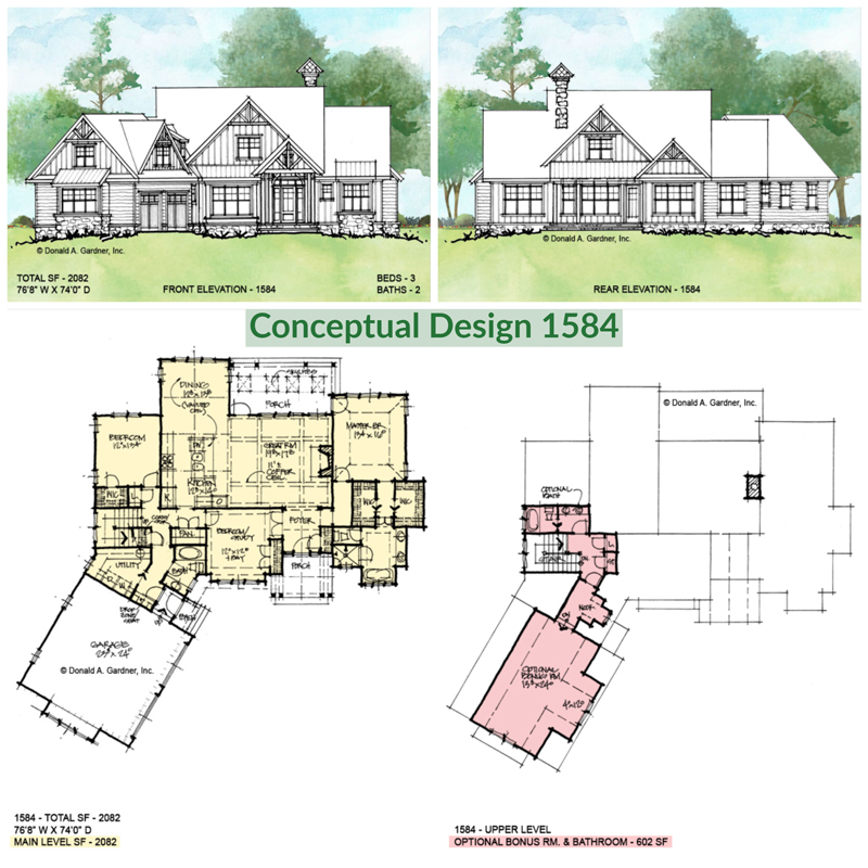Overview of conceptual house plan 1584.