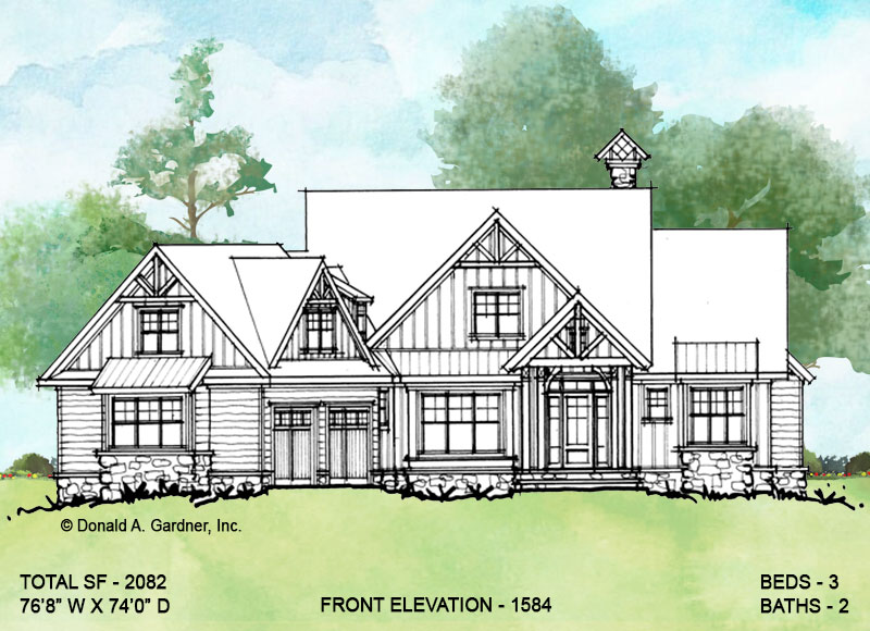 Front elevation of conceptual house plan 1584.