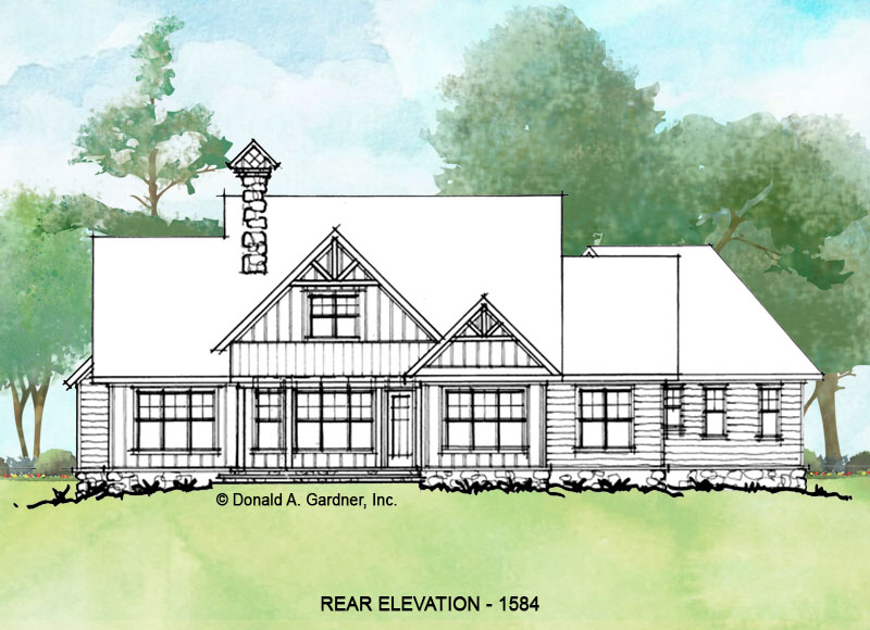 Rear elevation of conceptual house plan 1584.