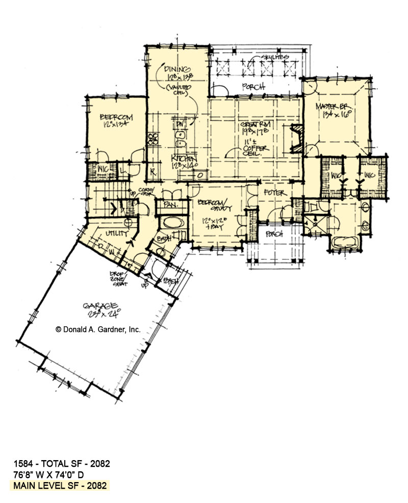 First floor of conceptual house plan 1584.
