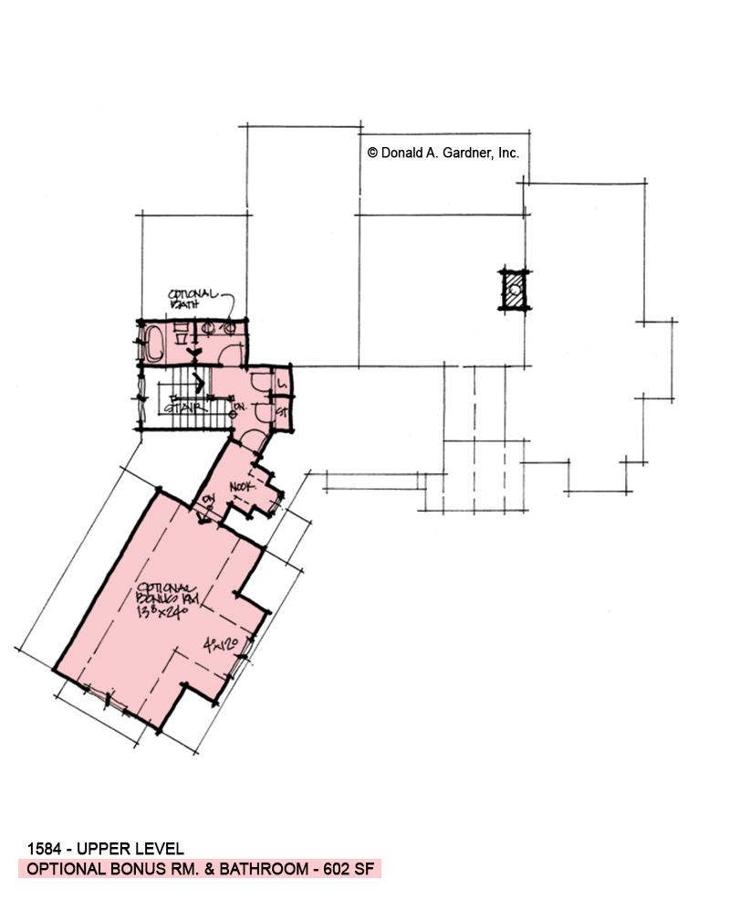Bonus room of conceptual house plan 1584.