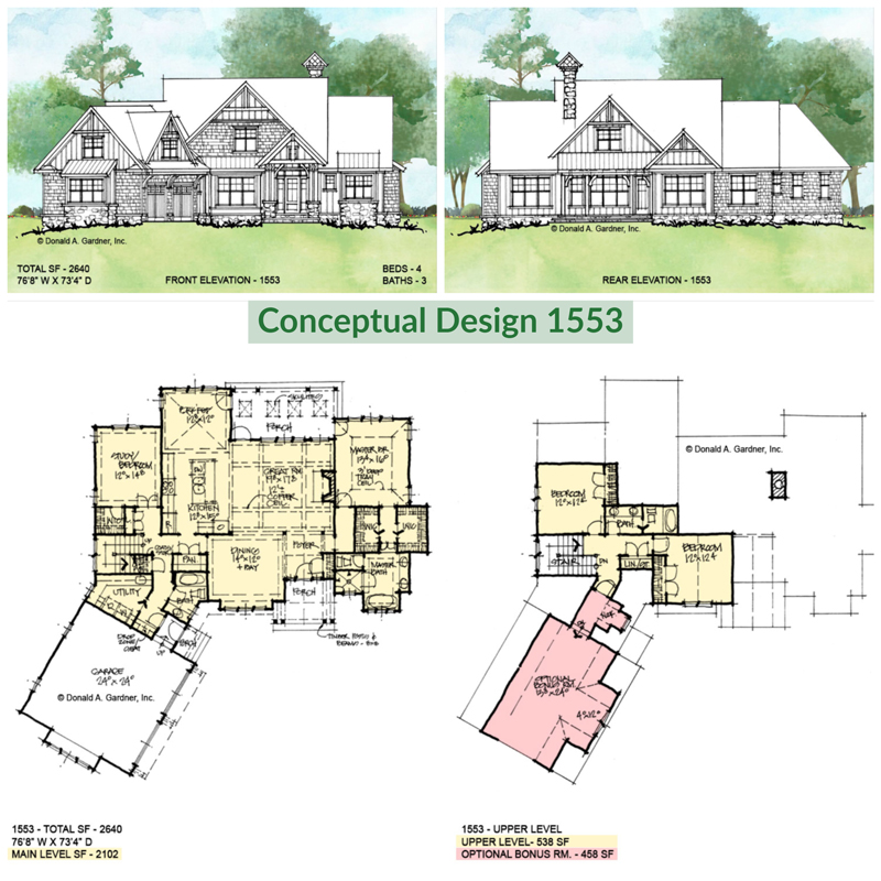 Overview of conceptual house plan 1553.