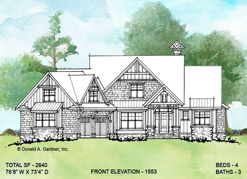 Front elevation of conceptual house plan 1553.