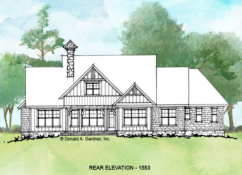 Rear elevation of conceptual house plan 1553.