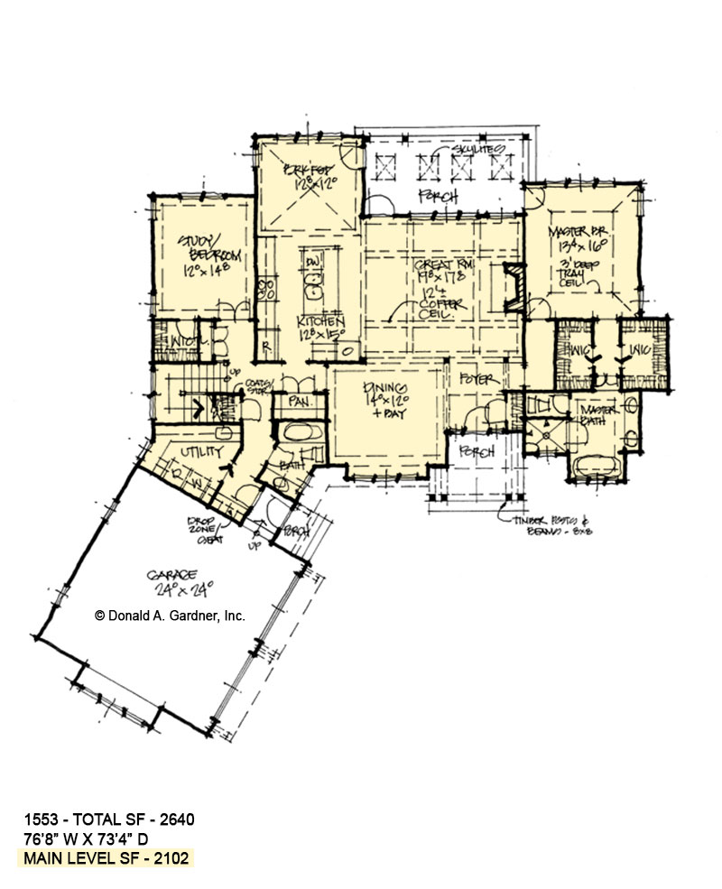 First floor of conceptual house plan 1553.
