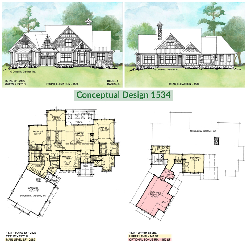 Overview of conceptual house plan 1534.