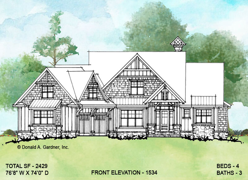 Front elevation of conceptual house plan 1534.