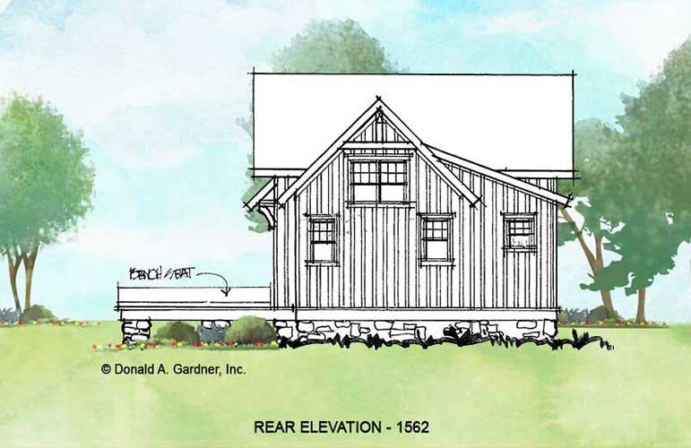 Rear elevation of conceptual house plan 1562
