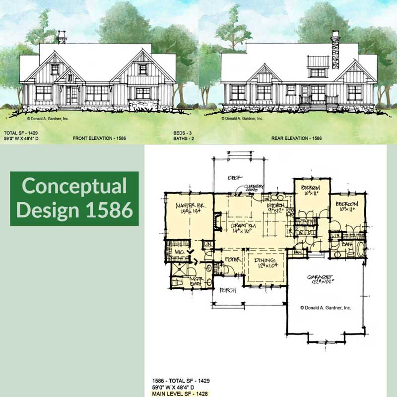 Overview of conceptual house plan 1586.