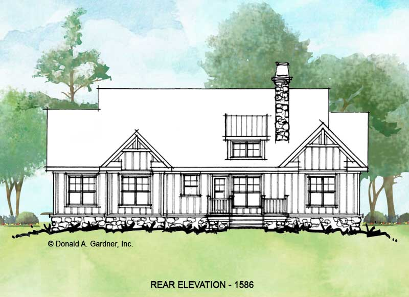 Rear elevation of conceptual house plan 1586.