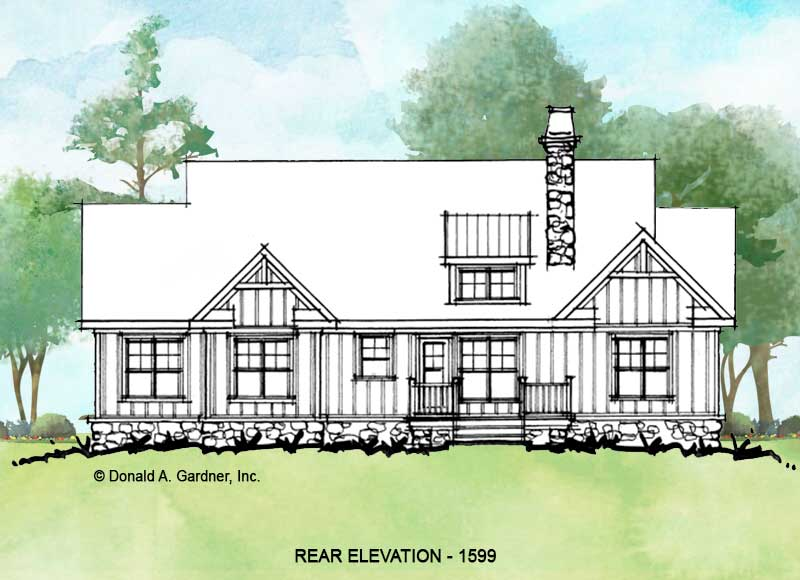 Rear elevation of conceptual house plan 1599.