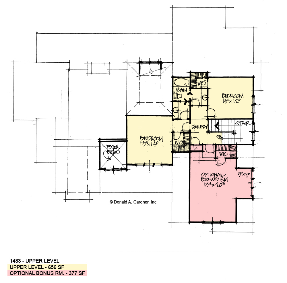 Check out the second floor of conceptual house plan 1483.