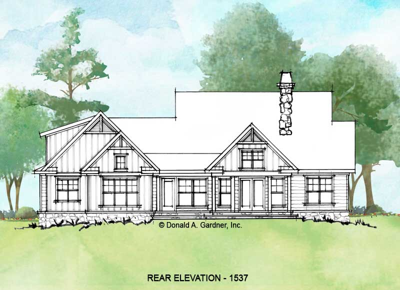 Rear elevation of conceptual house plan 1537