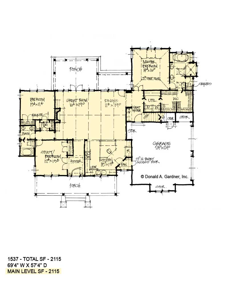 First floor of conceptual house plan 1537