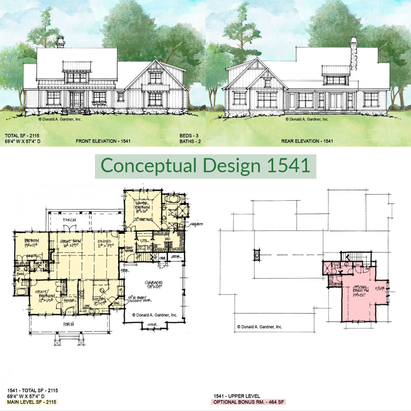 Overview of conceptual house plan 1541.