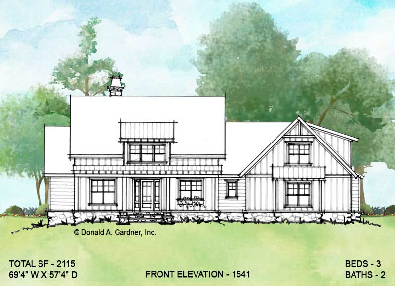 Front elevation of conceptual house plan 1541.