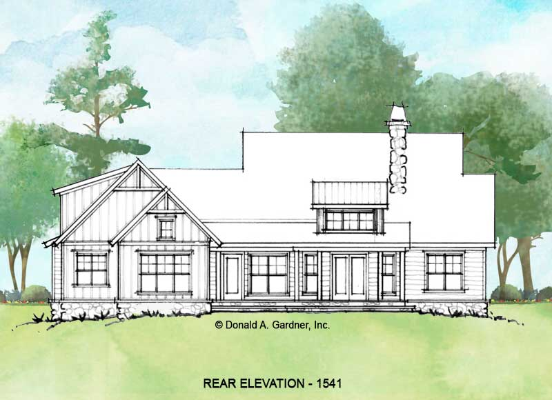 Rear elevation of conceptual house plan 1541.