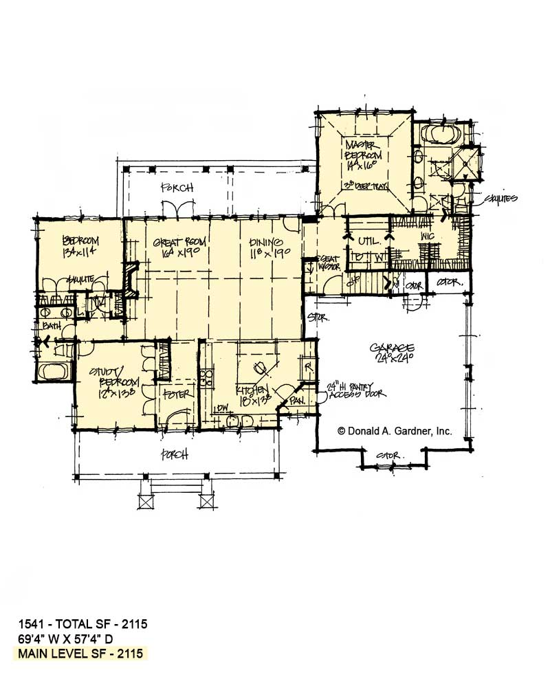 First floor of conceptual house plan 1541.