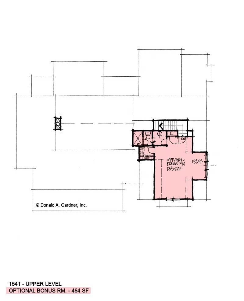 Bonus room of conceptual house plan 1541.