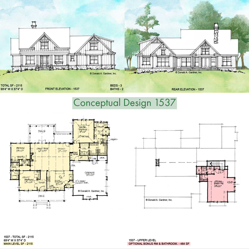 Overview of conceptual house plan 1537