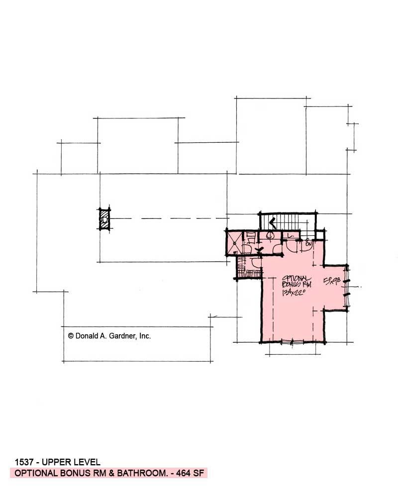 Bonus room of conceptual house plan 1537
